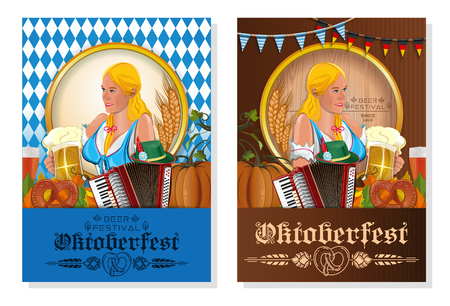 Oktoberfest beer festival. Poster design set with beautiful girl for Oktoberfest. Vector illustration