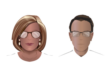 Silhouettes of men and women in glasses. Vector illustration