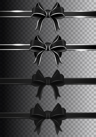 Black ribbons with bows collection. Dark ribbons set. Vector illustration Illustration