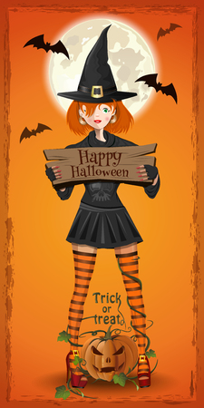 Cute girl in a witchs suit congratulates with Halloween. Lovely witch in the background of the full moon. Vector illustration