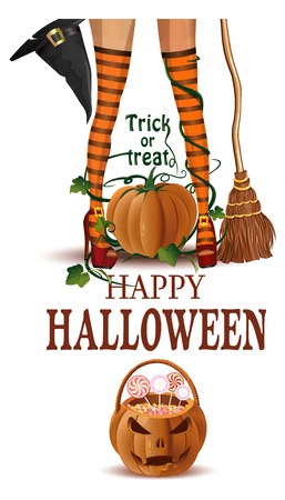 Halloween closeup witch legs in boots and with broomstick. Happy Halloween. Trick or Treat. Vector illustration isolated on white background Illustration