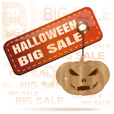 Halloween big sale. Orange tag and gold pumpkin. Price sale tag for Halloween. Vector illustration