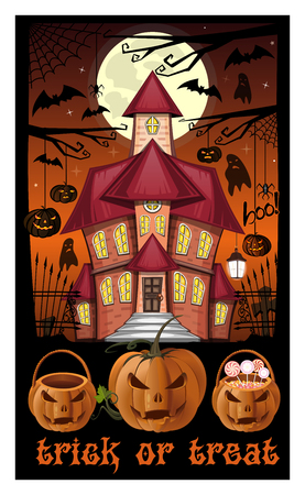 Halloween night. Poster. Trick or treat. Jack-o-lantern against the background of a haunted house and Halloween basket with sweets. Vector illustration