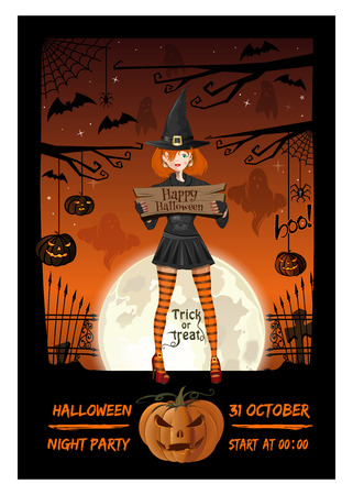Cute girl in a witch suit invites to a Halloween night party. Halloween poster design. Vector illustration Ilustração