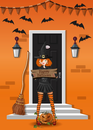 Cute girl in a witch suit near a house decorated to Halloween. Cute witch congratulates with Halloween. Vector illustration