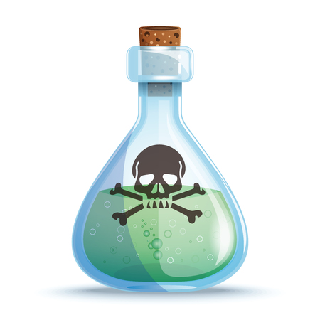 Glass bottle with green liquid. Vector icon