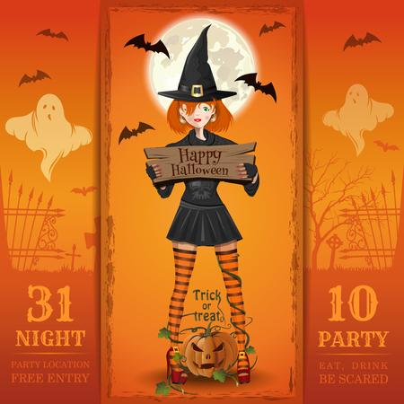 Invitation card for a Halloween night party Vektoros illusztráció