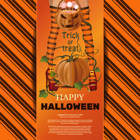 Halloween vector greeting card. Trick or treat 写真素材 - 114634123