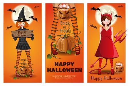 Halloween banner set with girls in fancy dress Stock Illustratie