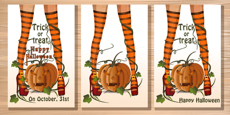 Set Halloween card with sexy witch legs Illustration