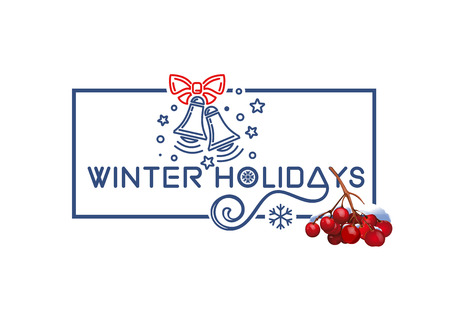 Winter holidays. Christmas logo design with rowan branch and hol Illustration