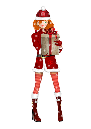 Cute girl in suit Snow Maiden on a snowy winter day. Snow Maiden with a Christmas gift in hand. Vector illustration Çizim