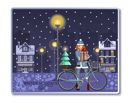 Christmas greeting card with santa girl for winter holidays. Cute girl on the snow-covered street with Christmas gift box. Vector illustration Çizim