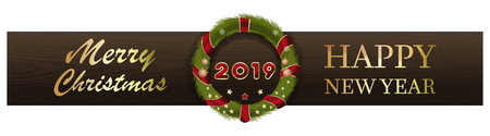 Design for the New Year 2019. Christmas wreath on the background of wooden boards and greeting inscriptions. Merry Christmas and Happy New Year. Vector illustration