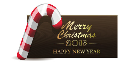 Wooden banner with Christmas red-white candy for New Year 2019. Merry Christmas and Happy New Year. Vector illustration