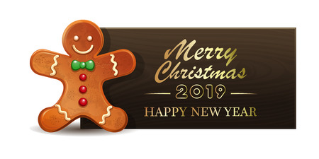 Wooden banner with gingerbread man for New Year 2019. Merry Christmas and Happy New Year. Vector illustration