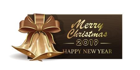 Banner in legno con jingle bells di Natale dorati per il nuovo anno 2019. Buon Natale e felice anno nuovo. Illustrazione vettoriale