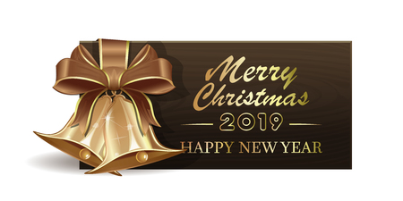 Wooden banner with golden Christmas jingle bells for New Year 2019. Merry Christmas and Happy New Year. Vector illustration
