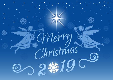Merry Christmas 2019. Christmas greeting card with angels on the background of the winter Christmas sky. Vector illustration
