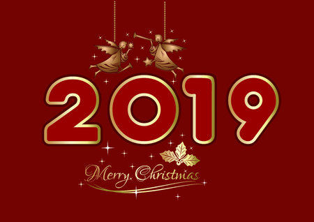 Merry Christmas 2019. New Years design. Gold Christmas angels on red background. Vector illustration