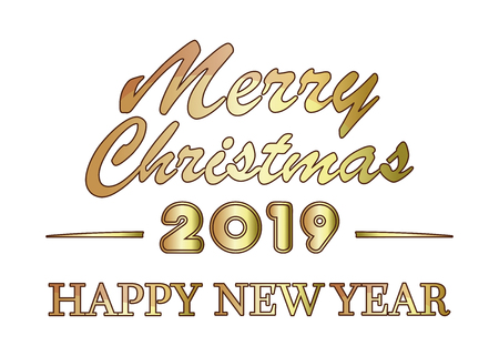 Merry Christmas and Happy New Year 2019. Stylized golden lettering for the New Year. Vector illustration isolated on white background Çizim