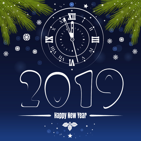 Blue vector banner for New Year 2019. Greeting card with spruce branches and antique clock. Vector illustration