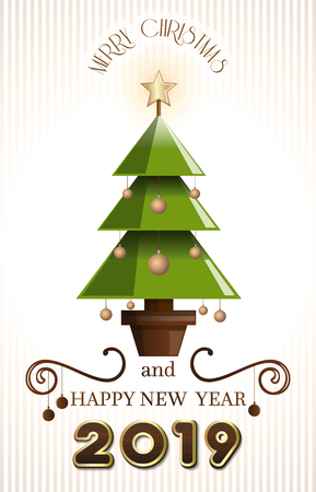 Greeting card with Christmas tree for New Year 2019. Merry Christmas and Happy New Year. Vector illustration