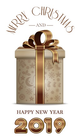 Christmas card with gift box for year 2019. Merry Christmas and Happy New Year. Vector illustration