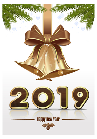 Christmas design for New Year 2019 with jingle bells. Christmas greeting card 2019. Vector illustration Archivio Fotografico - 127257479
