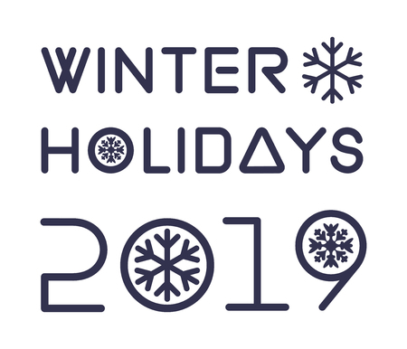 Winter Holidays 2019. Christmas lettering isolated on white backgroun. Stylish blue text on white. Vector illustration