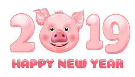 Happy New Year 2019. Stylized inscription with cute funny pig face for 2019 Chinese New Year. Vector illustration