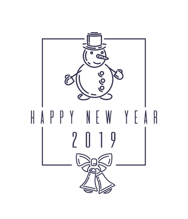 Christmas design with snowman. Happy New Year 2019. Christmas lettering isolated on white backgroun. Stylish blue text on white. Vector illustration