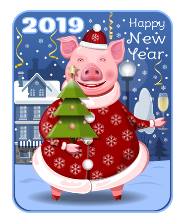 Greeting card for the year of the pig. A cute pig with a Christmas tree and a glass of champagne in their hands wish you a Happy New Year. New Years design 2019. Vector illustration