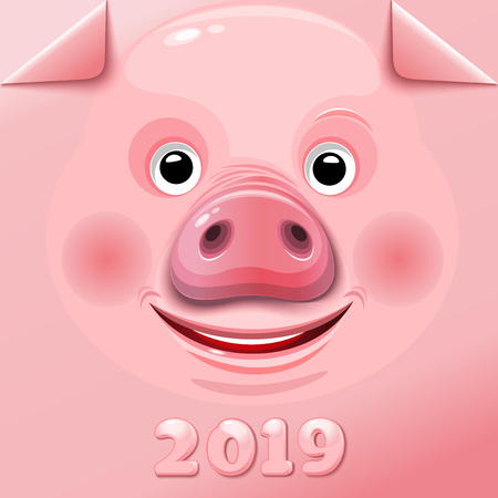 New Year 2019. Stylish pink background with cute funny pig face for 2019 Chinese New Year. Vector illustration