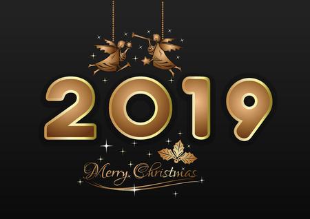 Merry Christmas 2019. New Years design. Gold Christmas angels on black background. Vector illustration Ilustração