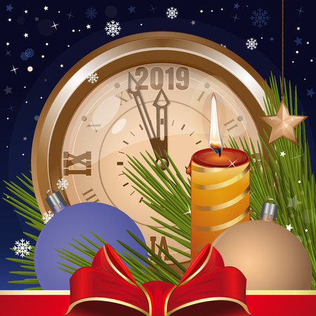 Greeting card for Christmas and New Year 2019. Christmas toys, clock, fir branches, falling snow and burning candle against the night winter sky. Vector illustration