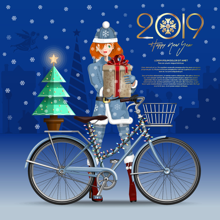 Greeting card for New Year 2019. Santa girl with christmas gift. Christmas card with cute girl on the background of a snow-capped town. Vector illustration