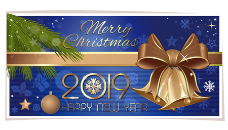 Multicolored horizontal banner with gold jingle bells for New Year 2019. Merry Christmas and Happy New Year. Vector illustration Çizim