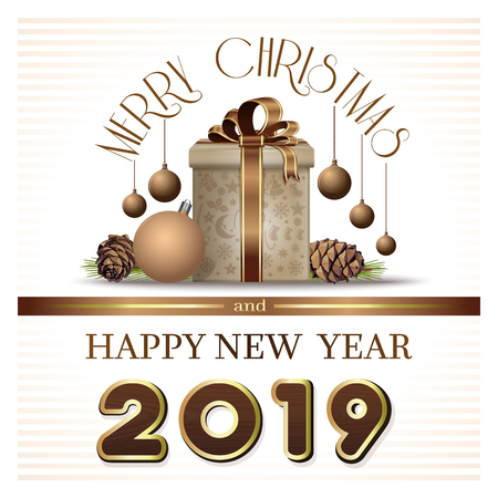 Greeting card in retro style for Year 2019. Merry Christmas and Happy New Year 2019. Vector illustration