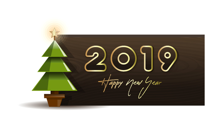 Wooden banner with Christmas tree for New Year 2019. Vector illustration