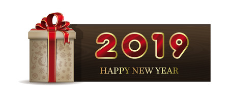 Wooden banner with Christmas gift box for New Year 2019. Happy New Year. Vector illustration Çizim