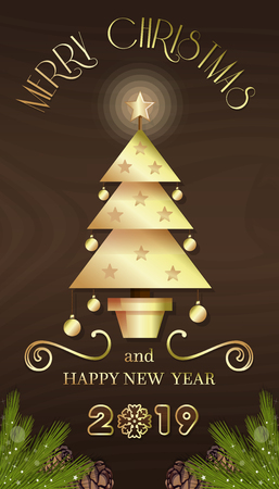 Vertical banner with Christmas tree for New Year 2019. Merry Christmas and Happy New Year. Vector illustration