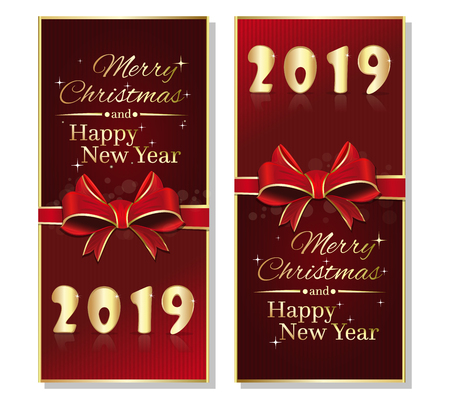 Red vertical banner set for Christmas and New Year 2019. New year red flyers collection with ribbon and bow. Vector illustration Çizim