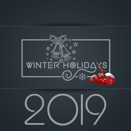Winter holidays 2019. Merry Christmas lettering card with jingle bells and bunch of rowan. Vector illustration Çizim
