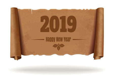 Happy New Year 2019. An unfolded vintage scroll with a congratulatory inscription. Christmas text design. Vector illustration isolated on white background Çizim
