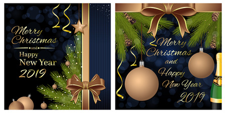 Merry Christmas and Happy New Year 2019. Greeting card set with a Christmas tree and congratulatory inscription. Vector illustration