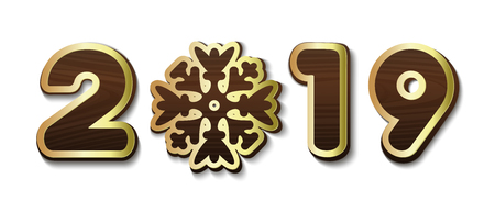 2019 - Stylized lettering with snowflake for decoration of banners, Christmas cards, leaflets, posters, booklets. Wooden inscription with gold stroke. Vector illustration