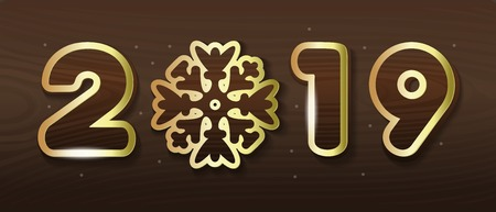 2019 - Stylized lettering with snowflake for decoration of banners, posters and Christmas cards. Stylish inscription with gold stroke on wooden background. Vector illustration Illustration