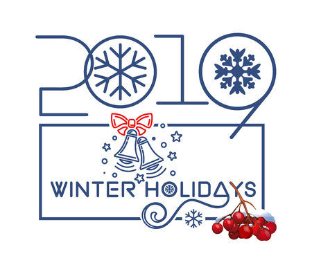 Winter holidays 2019. Christmas logo design with rowan branch and holiday bells in blue frame on white background. Vector illustration