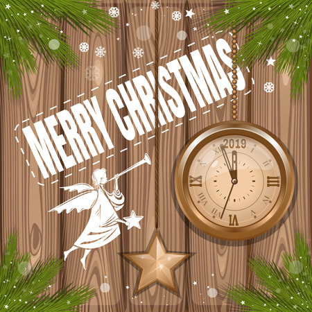 Christmas background 2019. Greeting card with christmas angel and antique clock on a wooden background. Vector illustration